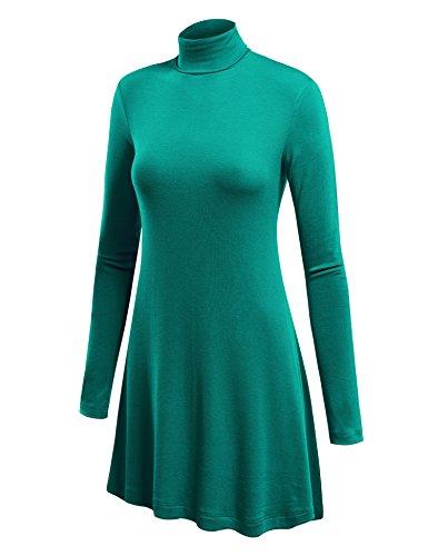 WT992 Womens Long Sleeve Turtleneck Sweater Tunic With Various Hem XL Jade - Jade Ribbed Sweater