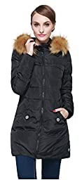 Orolay Women\'s Down Jacket with Removable Faux Fur Trim Hood Black S