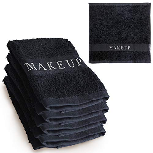 Towels Hospitality Guest - The Little Black Towel Makeup Remover Cloth (4 Pack) Plush Washcloths for Gentle Face Wash & Removing Eye Liner & Mascara, plus Foundation Eraser w/ Bleach Resistant Cotton & Soft Jacquard Lettering