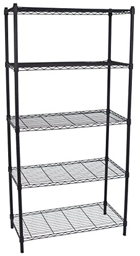 Internet's Best 5-Tier Wire Shelving | Flat Black | Heavy Duty Shelf | Wide Adjustable Rack Unit | Kitchen Storage (Eagle Metal Shelf)
