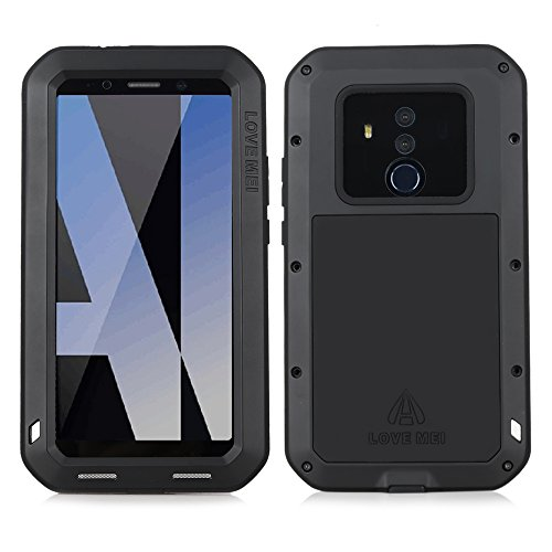 Huawei Mate 10 Pro Case, Cresee Hybrid Armor Alloy Aluminum Metal Bumper Case Rubber Silicone Gorilla Glass Military Heavy Duty Shockproof Water resistant Hard Case for Huawei Mate 10 Pro (Black)