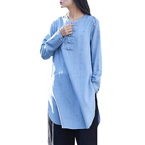 Azul Invierno Algodón Button Con Mujeres Bohemia Size De Liquidación Sólido Ventas Plus Larga Manga Lino Media En Vestido Otoño Casual Cuello Shobdw V gfBTqFw