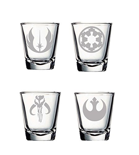 SW Shot Glass Set of Four: Mandalorian, Jedi Order, Rebel Alliance, Galactic Empire Etched Shot Glass Set (Set Gift A Star Name)