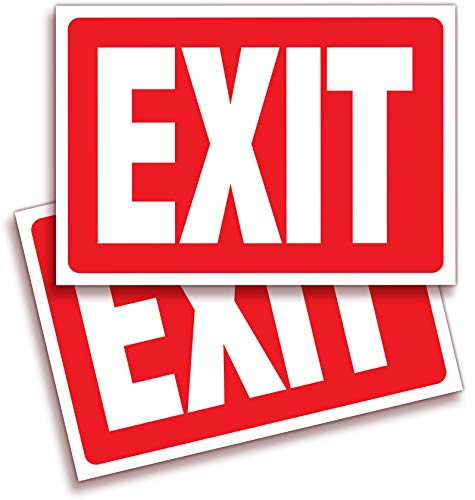 (Exit Signs Stickers – 2 Pack 10x7 Inch – Premium Self-Adhesive Vinyl, Laminated for Ultimate UV, Weather, Scratch, Water and Fade Resistance, Indoor and Outdoor)