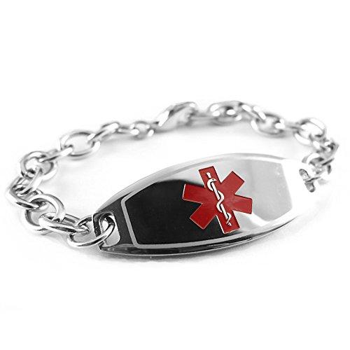 My Identity Doctor Custom Engraved Womens Medical Alert Bracelet, Steel 6mm O-Link Chain, Medium - Red ()