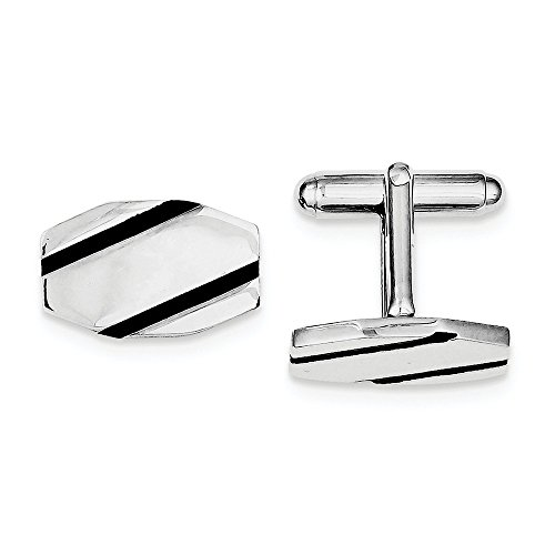 Sterling Silver Rhodium-plated and Black Enamel Cuff Links by CoutureJewelers