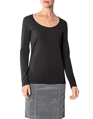 Marc O'Polo Damen T-Shirt Baumwollmix Shortsleeve Unifarben, Größe: M, Farbe: Schwarz