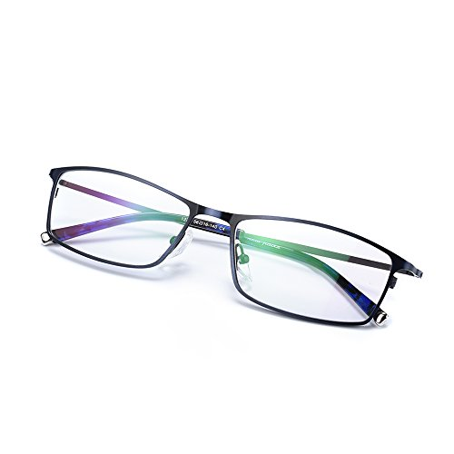 Rafbenson Read Glasses Men Metal Fashion Optics Reading Glasses (Blue, +3.0) (No Prescription Color Contacts)