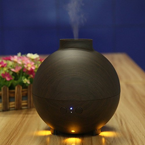 ZHIGU 600ml Large Capacity Aroma Essential Oil Diffuser Deep Wood Grain Aromatherapy Ionizer Ultrasonic Cool Mist Humidifier for Office Home Bedroom Living Room Study Yoga Spa