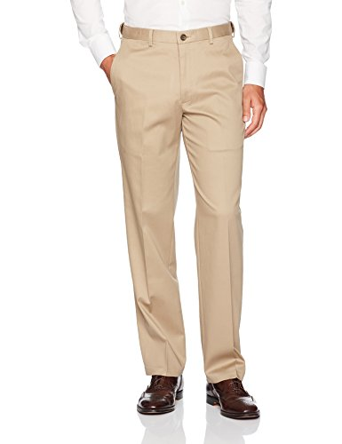 Haggar Men's Premium No Iron Classic Fit Expandable Waist Flat Front Pant, Khaki, 42Wx32L