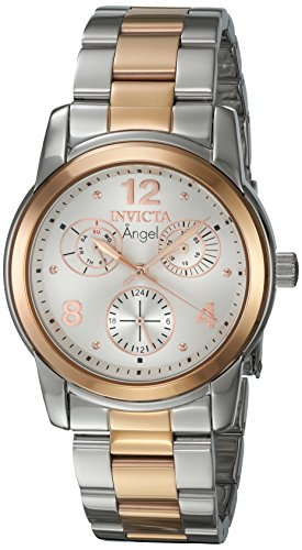 Invicta Angel Lady 38mm Stainlelss Steel Rose Gold SS Silver Dial VH68 Quartz Watch