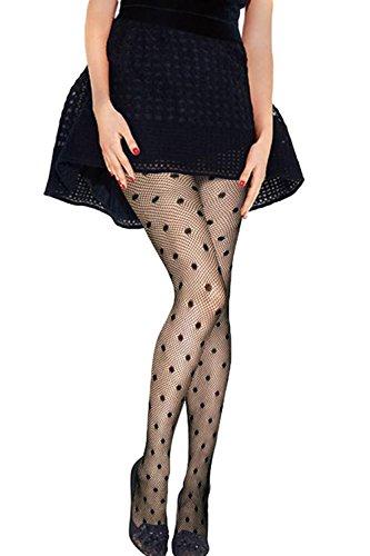 JE Women's Sexy Fishnet Dots Pantyhose
