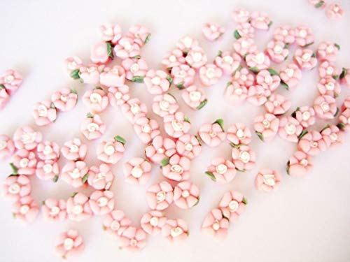(30 Hand Made Pink/White 2 Tone Mini Clay Flower 4D Rose/Doll/Craft/Rose)
