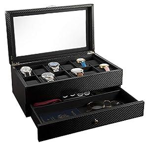 Best Epic Trends 41XUjvYEqyL._SS300_ Watch Box- Display Case & Organizer For Men| First-Class Jewelry Watch Holder| 12 Watch Slots & Valet Drawer for…