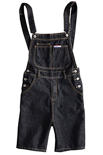 Sokotoo Men's Pocket Slim Denim Knee Length Shorts Bib Overalls Size 38 (Length Bib Knee)