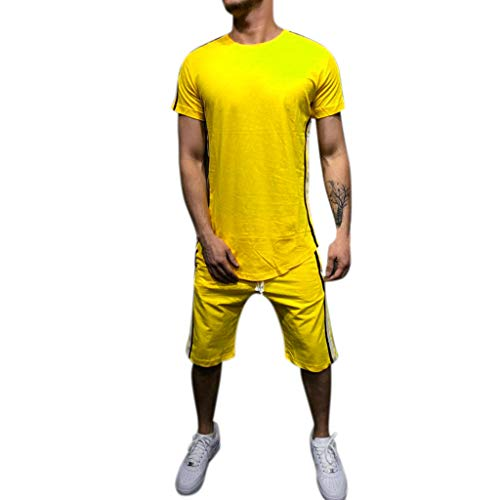 Sport Madras Coat (vermers Men's Outfit Sports Set Summer Leisure Stripe Collision Short Sleeve T Shirts Shorts Thin 2 Piece Sets Clothing (XL, Yellow))