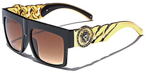 Flat Top Gold Chain Link Hip Hop Rapper Aviator Celebrity Sunglasses BLACK BROWN - Top Gold Chain