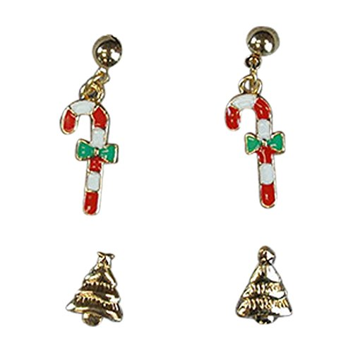 Cupid Reindeer Costumes Ideas - Toddler Girls Holiday 2-Pack Colorful Christmas Themed Earrings Set Reindeer Santa Claus Christmas Tree