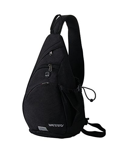 Sling Backpack, WATERFLY Sling Bag Small Crossbody Daypack Casual Canvas Backpack Chest Bag Rucksack for Men & Women Outdoor Cycling Hiking Travel