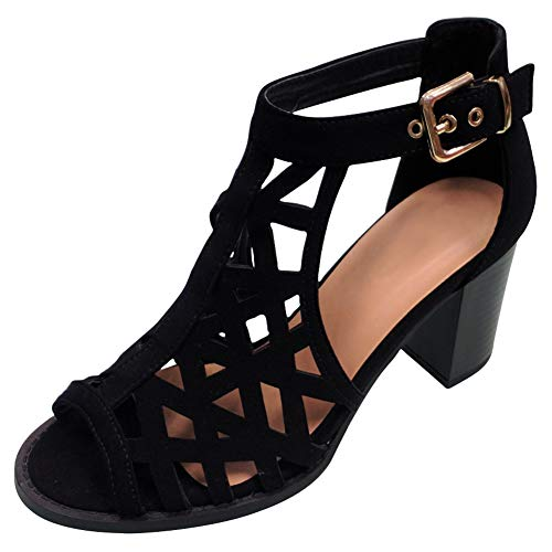 (Top Small Foot Casual Dress Chunky Heel Strappy Sandal Shoe for Teen Girls Women Junior (Black Size 5.5))