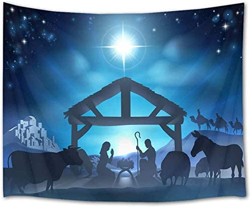 LB Jesus Nativity Tapestry Wall Hanging Venus Star Birth of Jesus Tapestry Wall Art Christian Tapestry Backdrop for Bedroom Living Room Dorm Wall Decor,92.5Wx70.9H inches