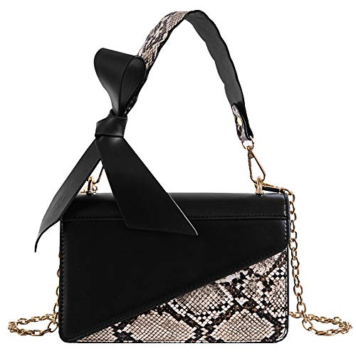 Queena Women Snakeskin Pattern Handbag Faux Leather Envelope Flap Clutch Cross Body Bag Chain Purse Black
