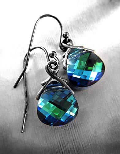 (Small Blue Green Crystal Teardrop Earrings - Petite Swarovski Crystal Briolettes)