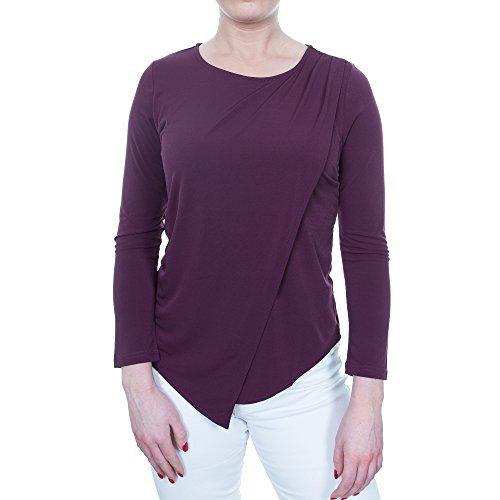 Julia K Women's Asymmetrical Casual Stretchy Wrap Top Blouse Tunic Round Neck (L, ()