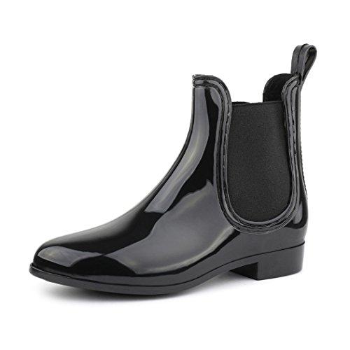 best-boots Damen Chelsea Boots Schuhe in Lack Blockabsatz SCHWARZ 743 Größe 38