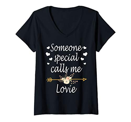 (Womens Someone Special Calls Me Lovie Mothers Day V-Neck T-Shirt)