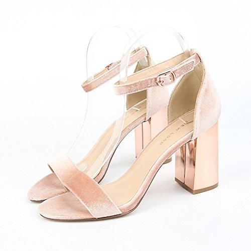 femmina sandali con peluche 39 High color con spessore sandali estivi Heeled di placcatura champagne La XwRxY1qzx