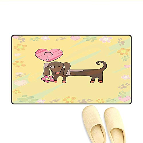 Bath Mat Colorful Sketch Style Dachshund Puppy with Floral Frame Design Cute Pet Character Door Mats for Inside Non Slip Backing Multicolor - Dachshund Frame Topiary