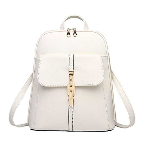 Tiny Chou Candy Colors PU Leather Backpack for College Schoolbag Book Bag White