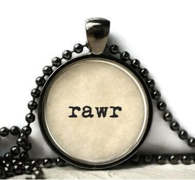 RAWR resin necklace or keychain word jewelry