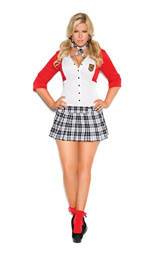 (Zabeanco Sexy Schoolgirl Role Play Halloween Costume Dean's List Diva Mini Dress with Attached Jacket and Neck Piece)