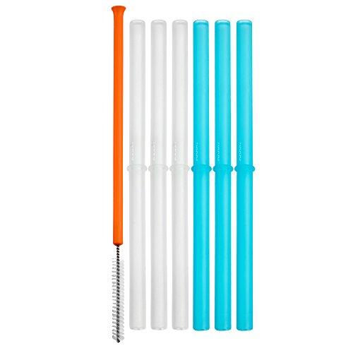 Boon Snug Silicone Straws, Blue