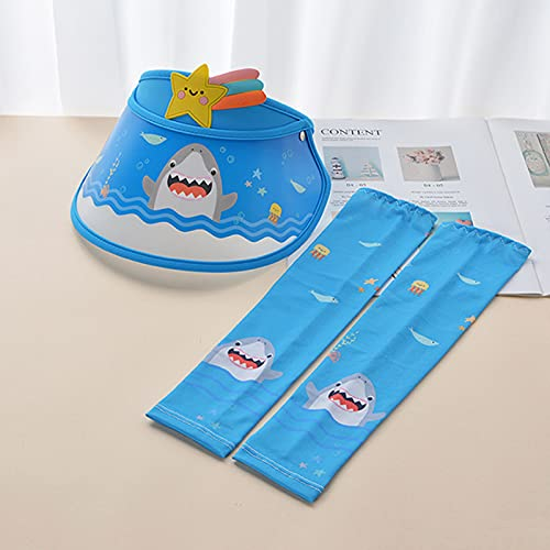 Baby Bucket Hat, Infant Boys Girls Cotton Breathable Sun Hat Infant Baby Boys Girls Fruit Print Sunscreen Cap[Hat + Sleeve_Dark Blue,M(1-8Y)]