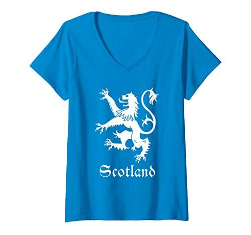 (Womens Scottish Lion Rampant Crest Scotland Coat Arms Gift Emblem V-Neck T-Shirt)