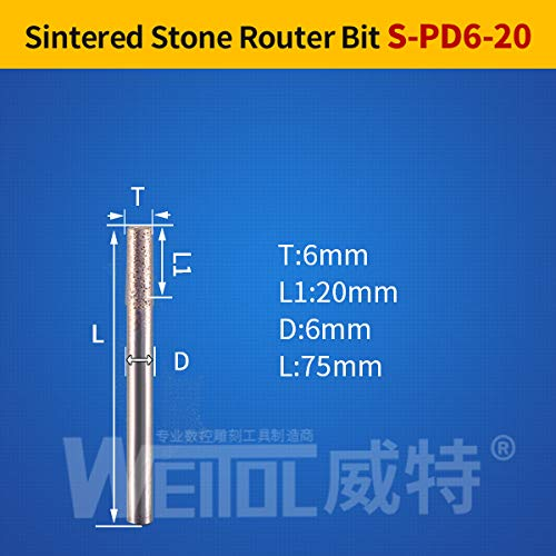 1 piece Weitol flat bottom ball nose stone engraving bits Sintered stone carving tools diamond router bits cnc router tool bit