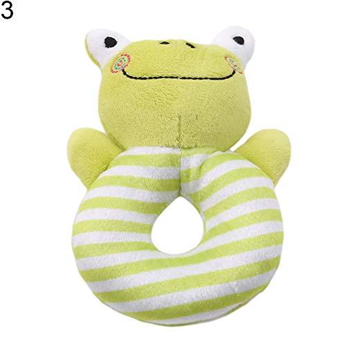 yanbirdfx Infant Baby Cartoon Rabbit Frog Hand Bell Ring Rattle Toy Soft Animal Plush Doll - Green