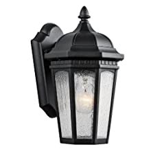 Kichler Lighting 9032BKT Courtyard 1-Light 11-Inch Outdoor Wall Lantern with Etched Seedy Glass, Textured Black Finish