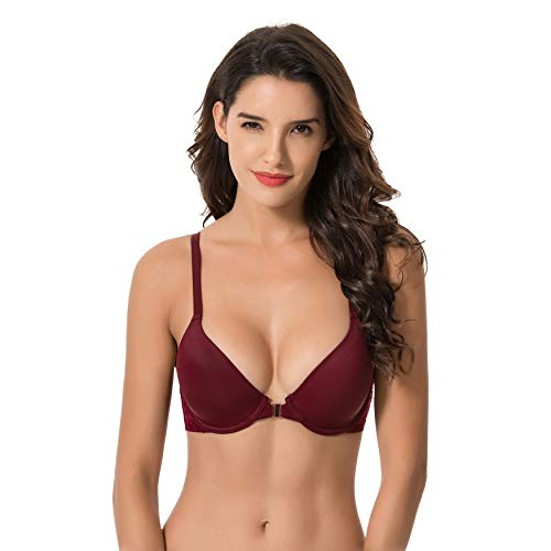 Curve Muse Womens Plus Size Full Coverage Underwire Front Close Bras-1PK-BURGUNDY-40B