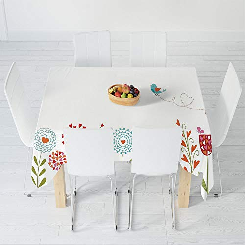 Waterproof Tablecloth,Flower Decor,for Dining-Table Tea Table Desk Secretaire,30.3 X 28.3 Inch,Romantic Design with Flowers Hearts Birds and ()