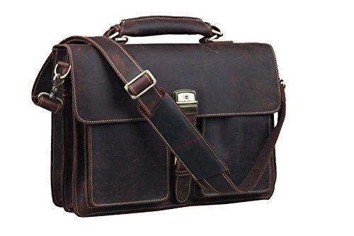 Crazy-Horse Leather Briefcase Lock Key Designer Inspired Messenger Bag Handbag Fit 15