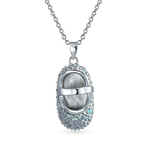 - Pave CZ Baby Shoe Mary Jane Style Pendant Necklace For New Mother Charm Cubic Zirconia 925 Sterling Silver