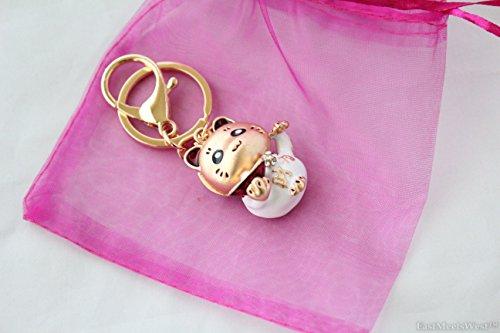 Bejewelled Maneki Neko Waving Paw Hand Beckon Cat Holds Gold Ingot Key Chain Handbag Hanging Charm Lucky Feng Shui Protection