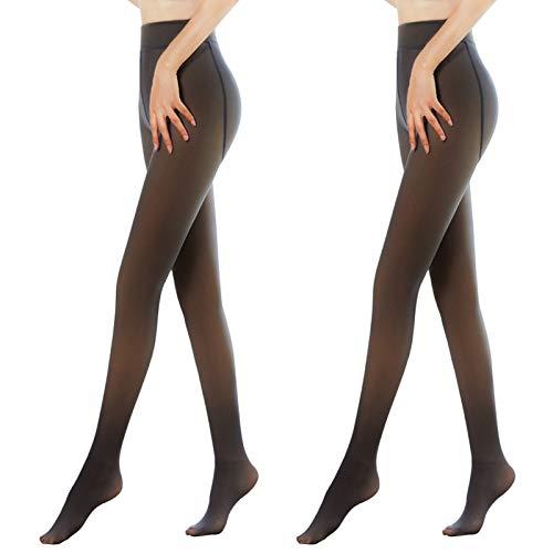 Xingsiyue Dames 2 pakjes Panty Volledige Lengte Ondoorzichtig Panty's Naadloos Warme Fleece Footed Kousen Winter…