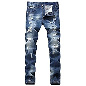 DigerLa Men's Ripped Holes Distressed Straight Leg Denim Pants Jeans