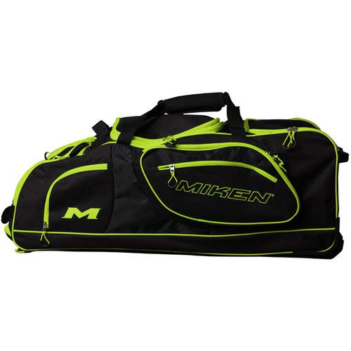 (Miken Championship Wheeled Equipment Bag (with 4 Bat Slots and Fence Hooks), Black/Charcoal/Green)