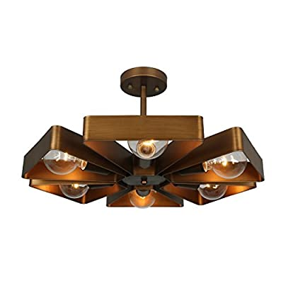 Unitary Brand Copper Vintage Barn Metal Floral Semi Flush Mount Ceiling Light with 6 E26 Bulb Sockets 360W Painted Finish